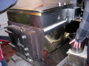 Boiler below the evaporator