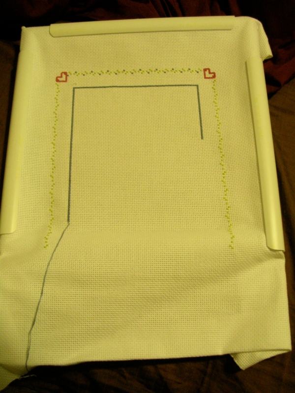 Unfinished cross-stitching