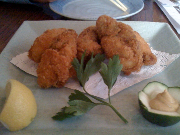 Fried oyster appetizer